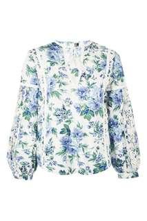 White floral balloon sleeve blouse
