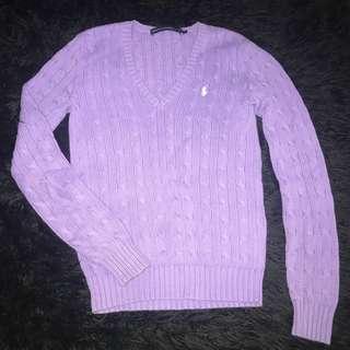 Ralph Lauren Purple Cable Knit Jumper Sz S