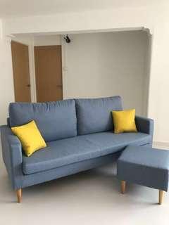 Sofa (3seater with ottoman + cushion)