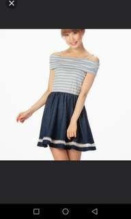 Liz Lisa sister brand Tralala Drape Shoulder Demin Casual Dress