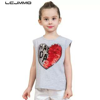 Summer Girls T-Shirt Tops Tee Girl Tshirt Sequin Casual Kids T-shirts Baby Girl Clothes For 3-8 Years