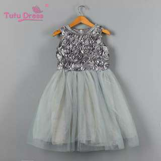 Girl Dress Princess Wedding Bridesmaid Child Wear Kids Clothes Grey Party Tutu Dresses for Girl Clothes
