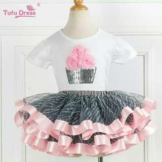 Summer Girls Floral White Short Sleeve Tops&t-Shirt+Tutu Skirt Sets Outfits Children Clthing Sets For 2-12 Years Kids