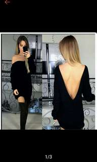 (S in stock) Backless sweater Long sleeve dress. PO