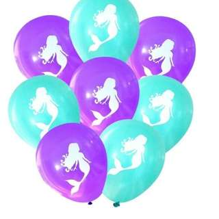 Mermaid / Balloons / Theme / Birthday / 10pc Party Balloons