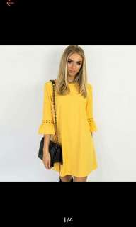 (S in stock) Falbala sleeves hollow out crochet dress. PO
