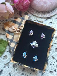 fancy romantic crystal floral ear ring clips and ring set