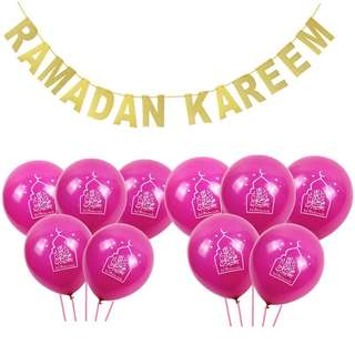 Ramadan Kareem Banner / Party / Bunting / 10pc Balloons