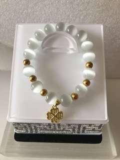Clover Flower cat eye stone bracelet