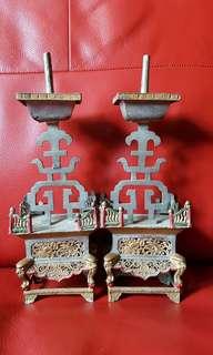 Pair of vintage titanium candle holder