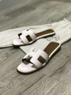 """""""Hermes"""" epsom white sandles"""