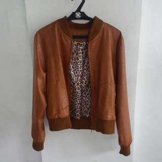 Brown (Tan) Bomber Jacket with Animal Print Lining