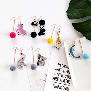 🚚 🌸 Asymmetrical colourful neon animal style pom pom dangling quirky regular and clip on earrings