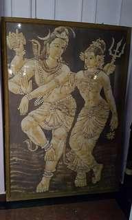 Vintage Batik Lord shiva and Parvati frame
