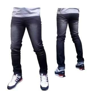 DFS Celana jeans skinny / slimfit / pensil- Black Grey Scrub