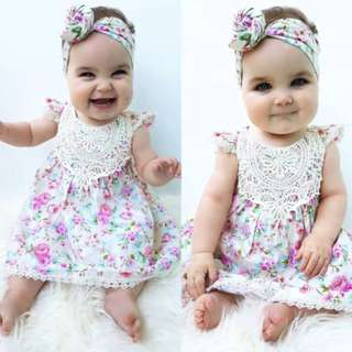 Newborn Infant Baby Girls Floral Sundress Clothes Dress+Headband Cute Lovely Set