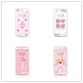 粉紅豹iPhone7/8plus鋼化膜蘋果6s彩膜全屏手機膜6plus卡通頑皮豹手機貼膜