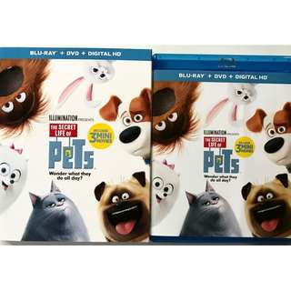THE SECRET LIFE OF PETS BLU RAY DVD 2 DISC SET + SLIPCOVER SLEEVE