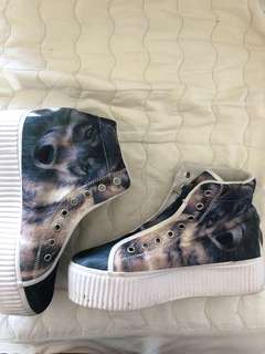 Wolf Blue and white Platform shoes