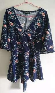 Plus size flora kimono top