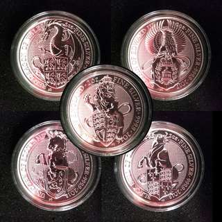 Queen Beast 2 oz Silver Royal Mint Coin, Lion, Griffin, Dragon, Unicorn, Bull