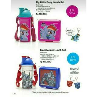 Tupperware my little pony /transformer lunch set