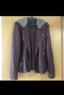 Forever 21 Leather Jacket With Detachable Hood