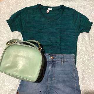 Blue Green Knitted Top