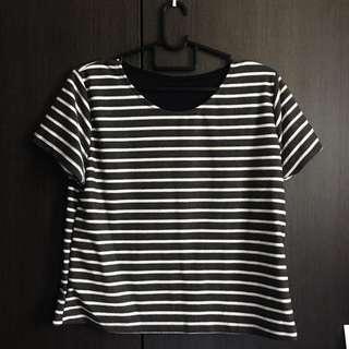 Grey and white Ulzzang stripes shirt