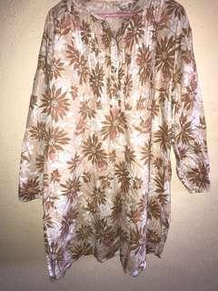 Muslimah Brown Floral Blouse