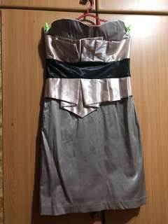 L Silvery Shiny Dinner Gown with padded bra