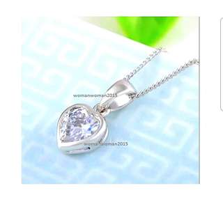18k white gold plated crystal necklace