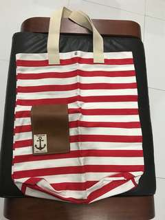 Red Stripes large cloth tote bag_new