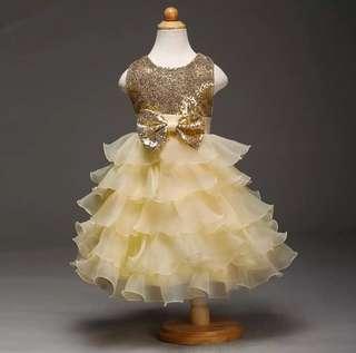 Flower Girl Dress Golden Kids Gown