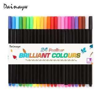 0.4 Mm 24 Colors Fineliner Pens Superfine Marker Pen Water Based Assorted Ink Arts Drawing For Children Graffiti Hook Fiber Pen