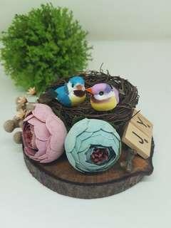 Birdnest ring bearer + flowers arrangement Ring bearer 09