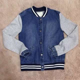 F21 Denim Varsity Jacket