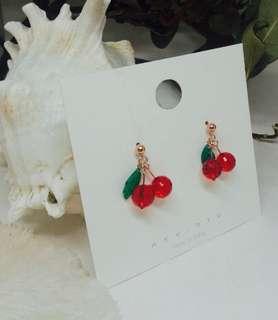 車厘子耳環 紅色 綠色 圓形 立體 mother day 禮物 cherry