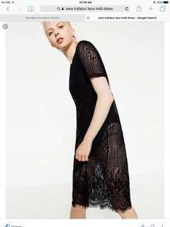 Zara trf lace strip midi dress