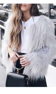 Faux fur coat grey