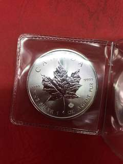 Silver one ounce Canadian maple leaf