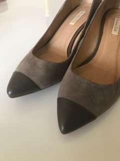西班牙massimo dutti 低根雞皮雙色鞋 都會OL 尖頭
