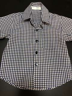 Camouflage Gingham Checkered Boy's Shirt - Size 2