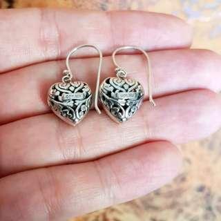 18K Gold & 925 Silver, White Sapphire Heart Earrings, Brand NEW