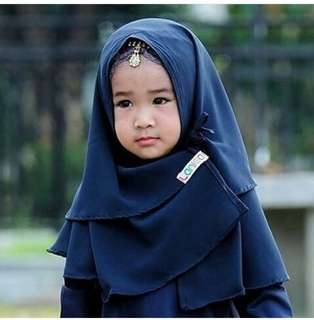 Khimar bayi navy&mint usia 1-2 thn