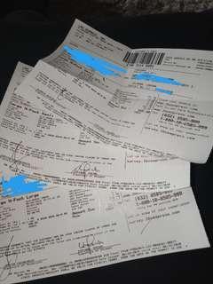 shipment receipts.