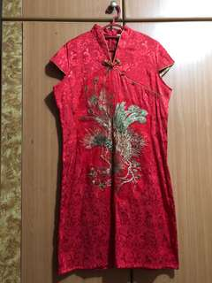 XL Red Cheongsam with peacock feathers