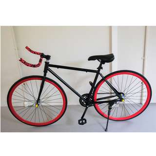 Black/Red Bull Horn Fixie Bike [Brand New, Ready Stocks]