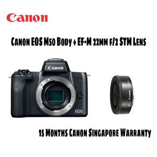 Canon EOS M50 body with EF-M 22mm STM Lens