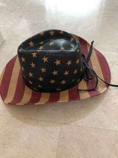 Vintage Cowboy hat with American flag design. Only used once for phototaking.